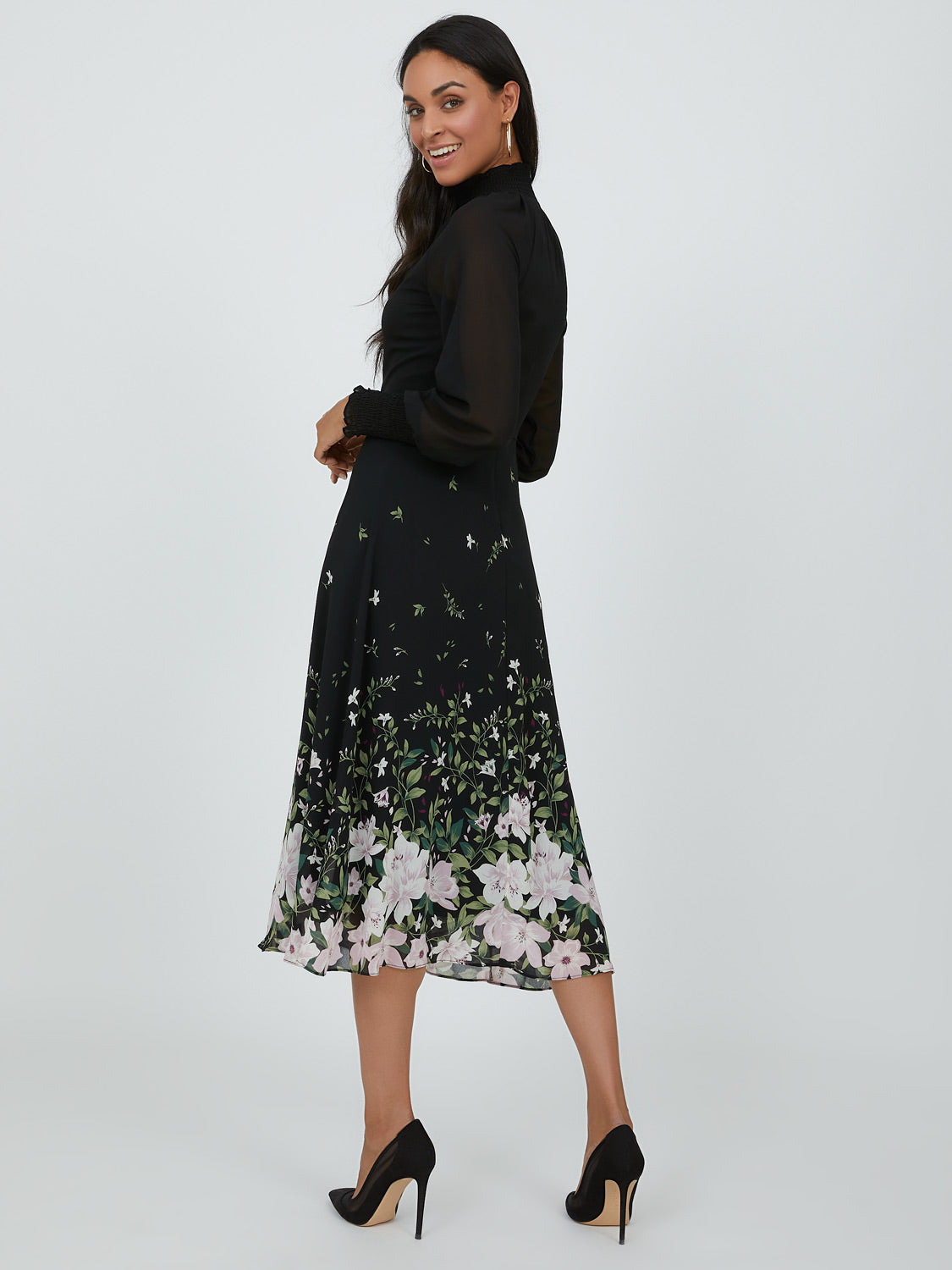 Sheer Sleeve Floral Midi Dress