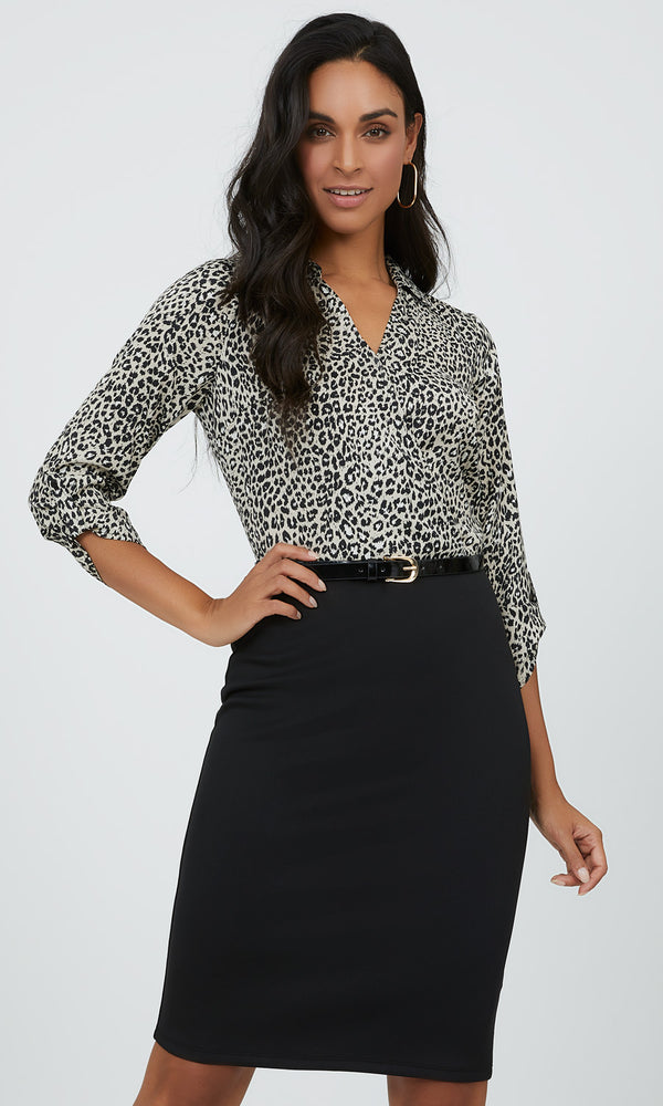 Shirt Collar Animal Print Mini Dress