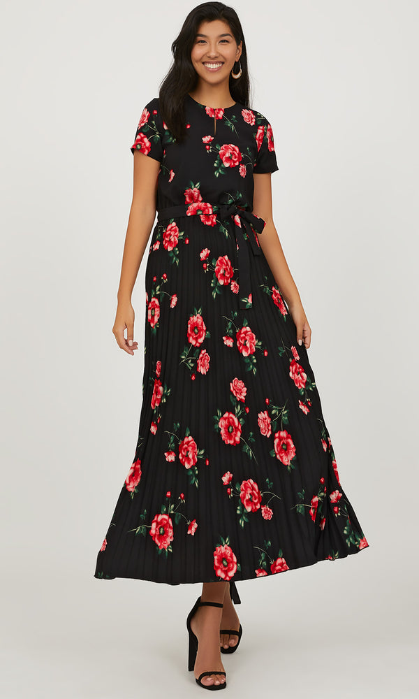 Short Sleeve Pleated Floral Maxi Dress