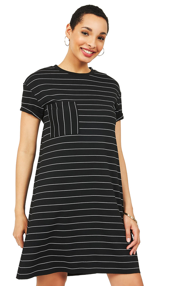 Striped Pleated T-Shirt Dress