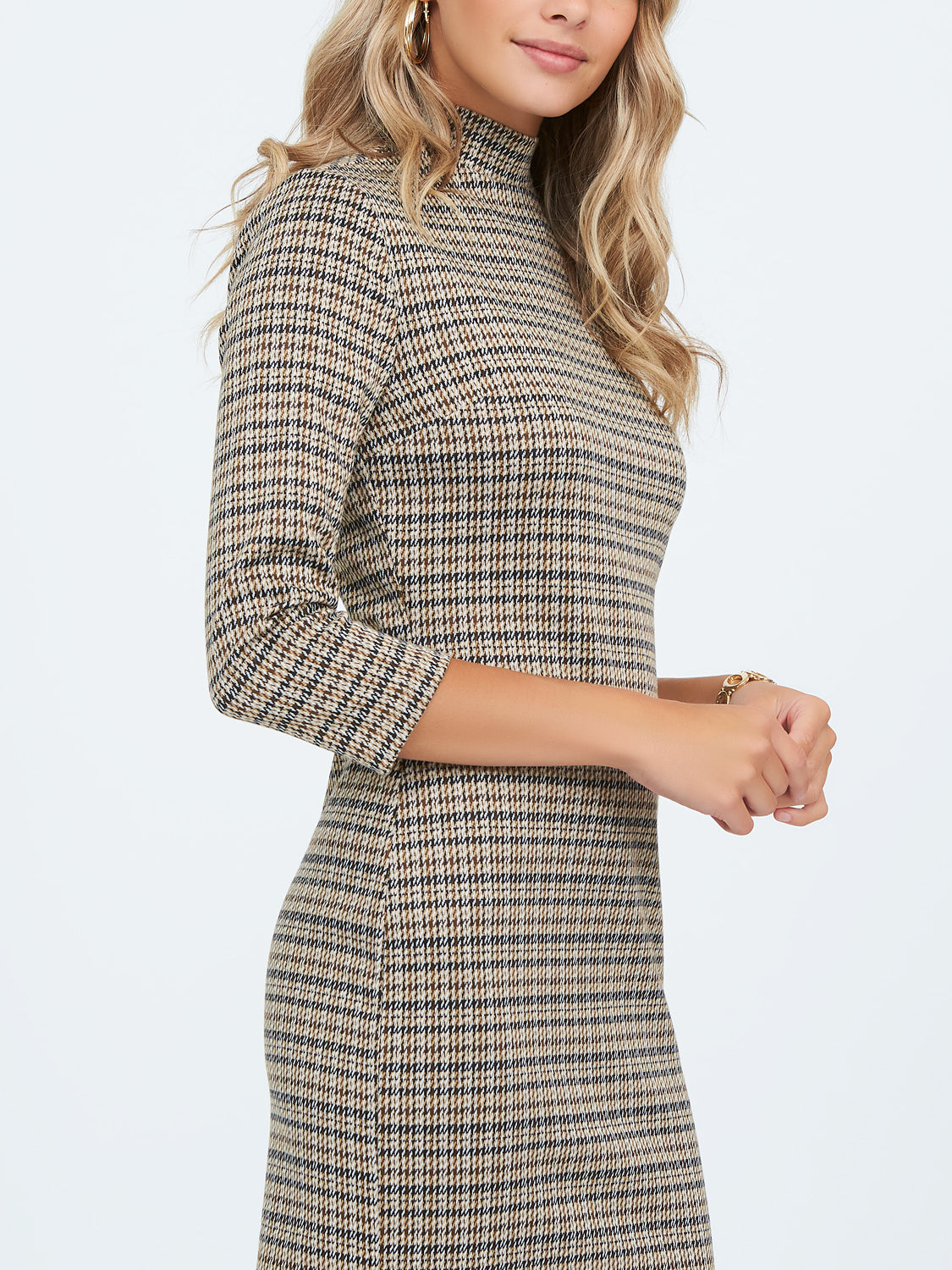 ¾ Sleeve Mock Neck Sheath Dress
