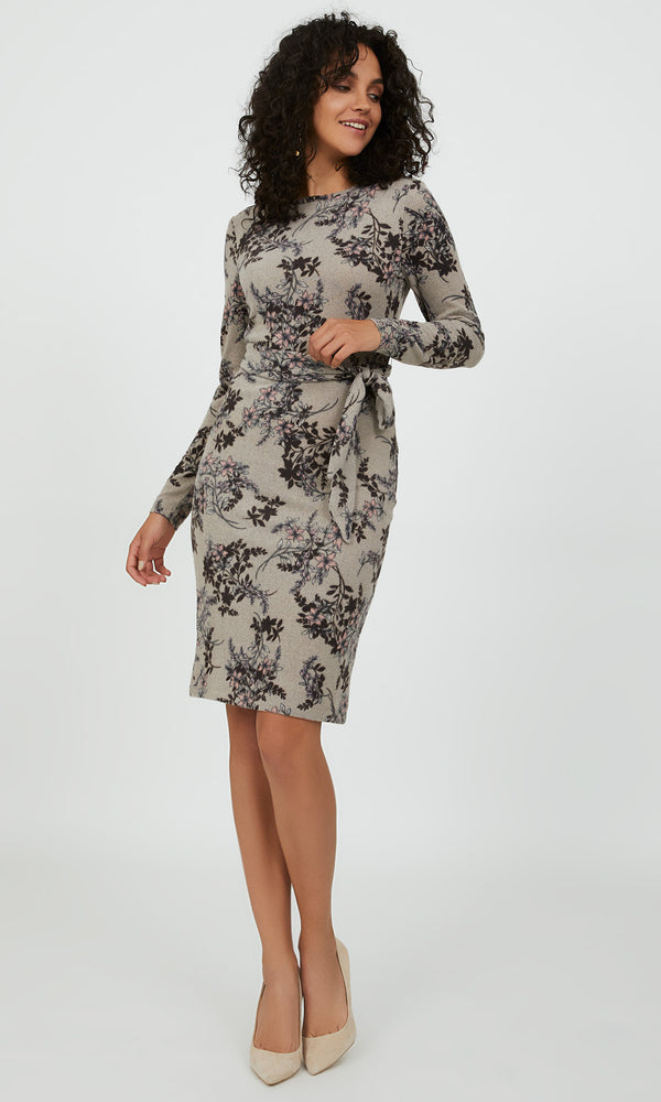 Knitted Floral Sheath Dress