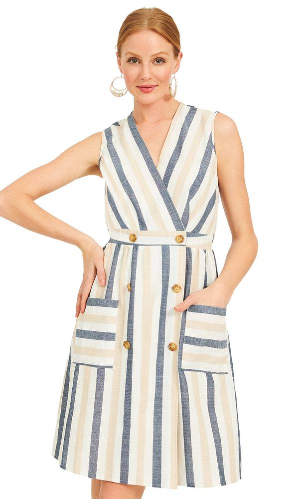 Crossover Stripe Sheath Dress