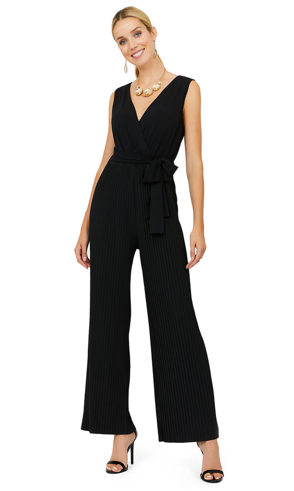 Self-Sash Pleated Wide Leg Jumpsuit