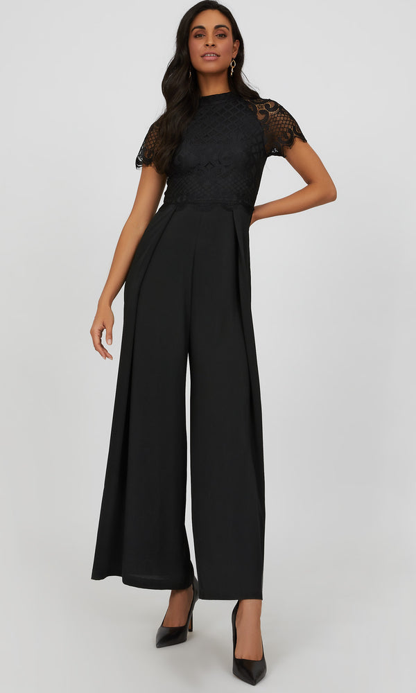 Short Sleeve Lace & Wide Leg Jumpsuit