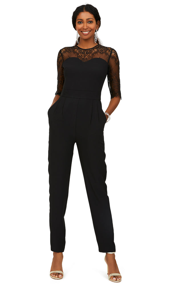 Scallop Trim Lace Yoke Jumpsuit
