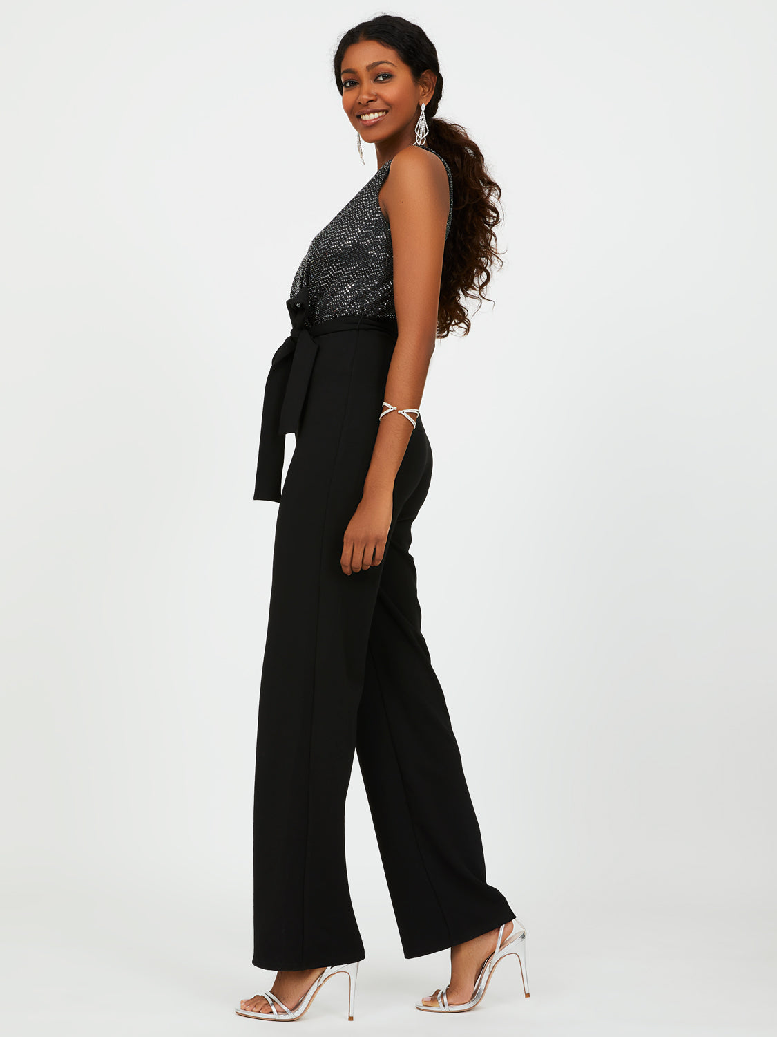 Sleeveless Wide Leg Jumpsuit With Sequins