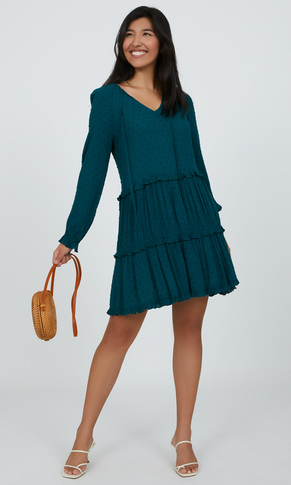 Long Bell Sleeve Tiered Mini A-line Dress