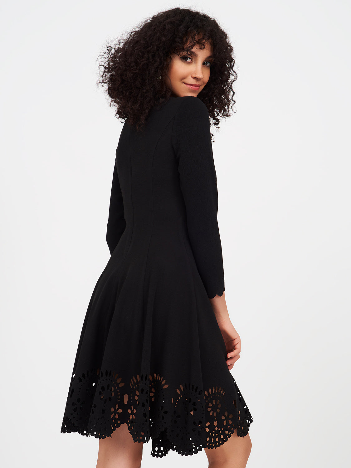 Textured Crepe Fit&Flare Dress With Scallop Hem