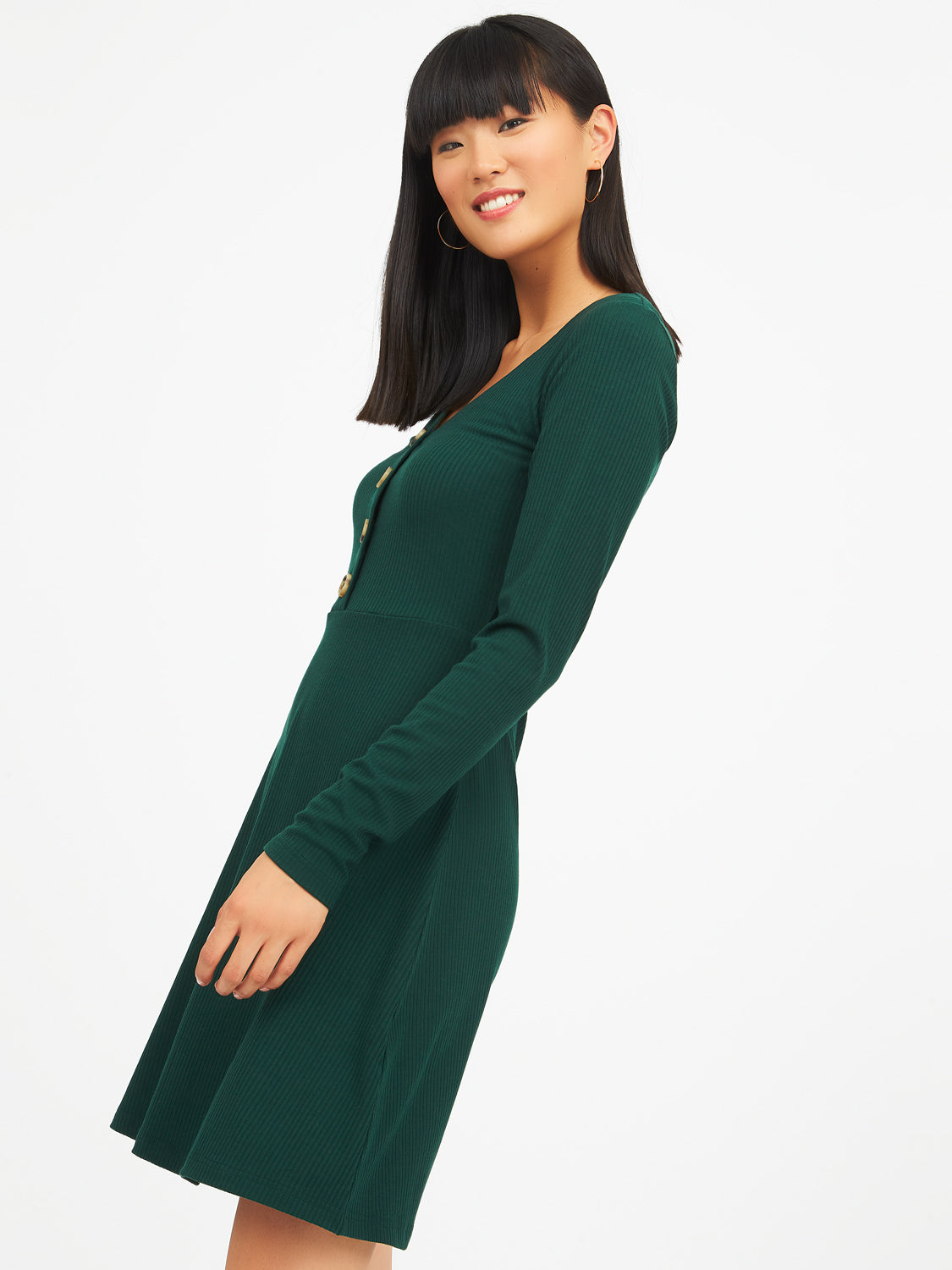Ribbed V-Neck Fit & Flare Dress