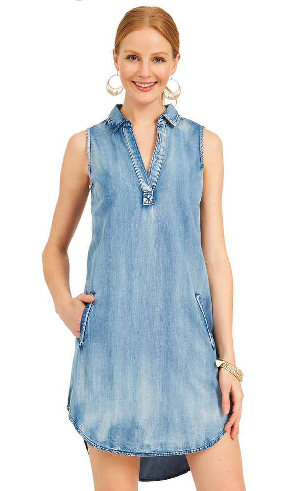Sleeveless Denim Sheath Dress