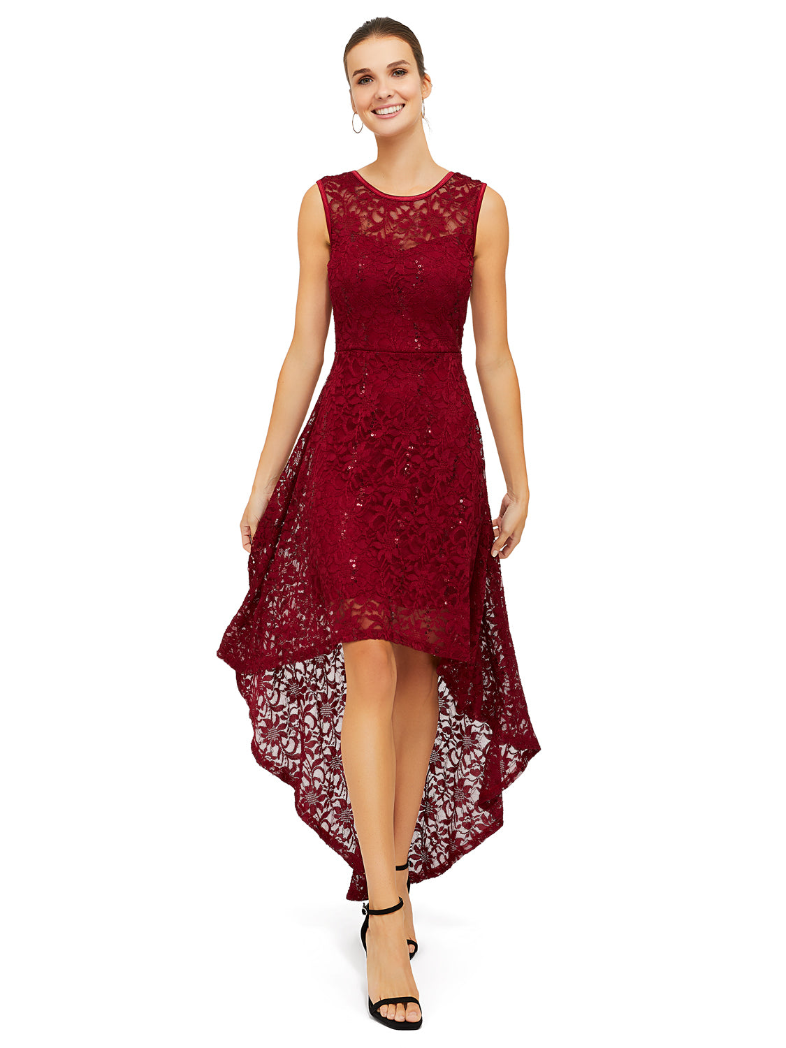 Lace Sequin High-Low Dress