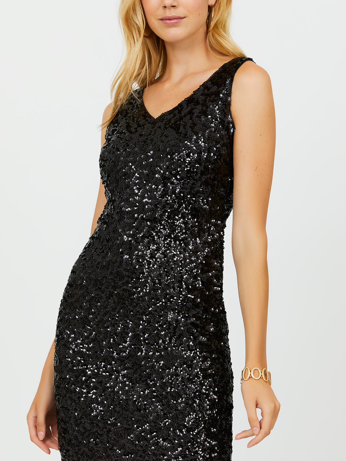 Sleeveless Sequin V-Neck Sheath Dress