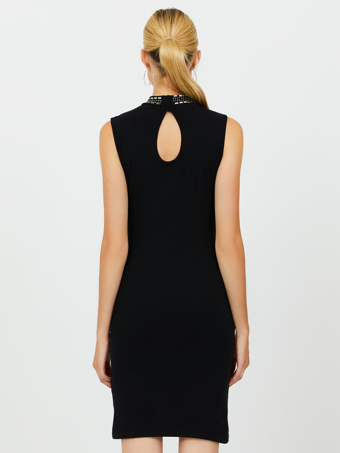 Mock Neck Embellished Sheath Dress