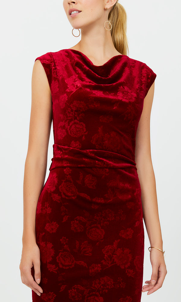 Cowl Neck Velvet Sheath Dress