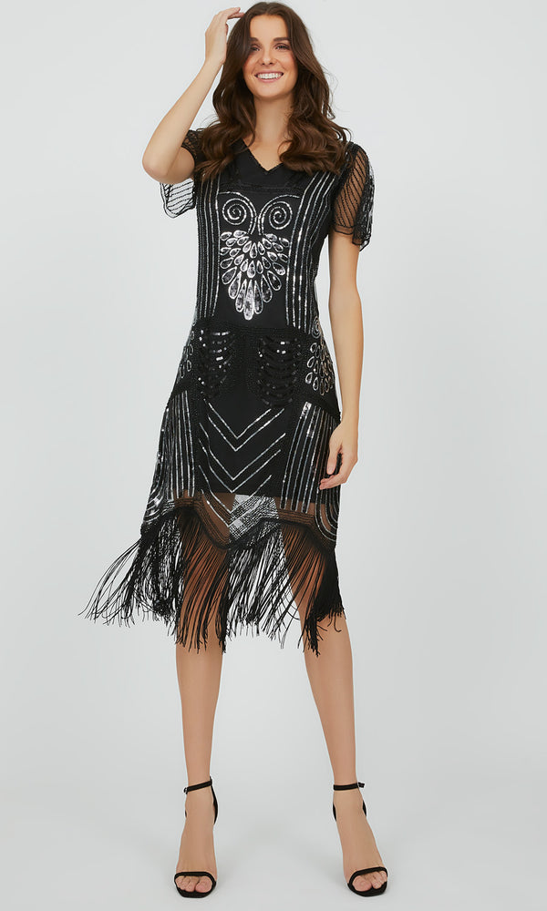 Vintage Beaded Sequin Fringe Mini Dress