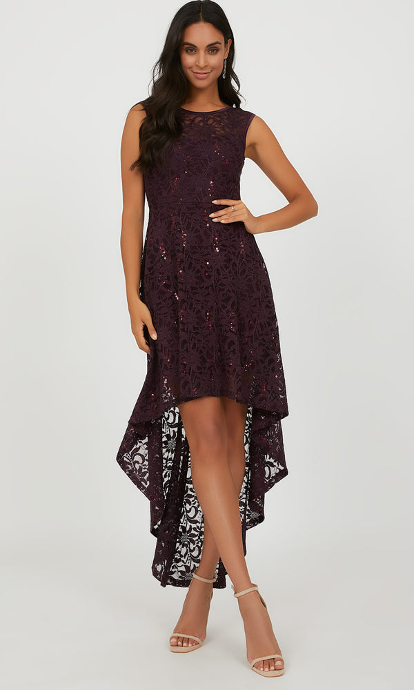 Lace & Sequin High-Low Dress