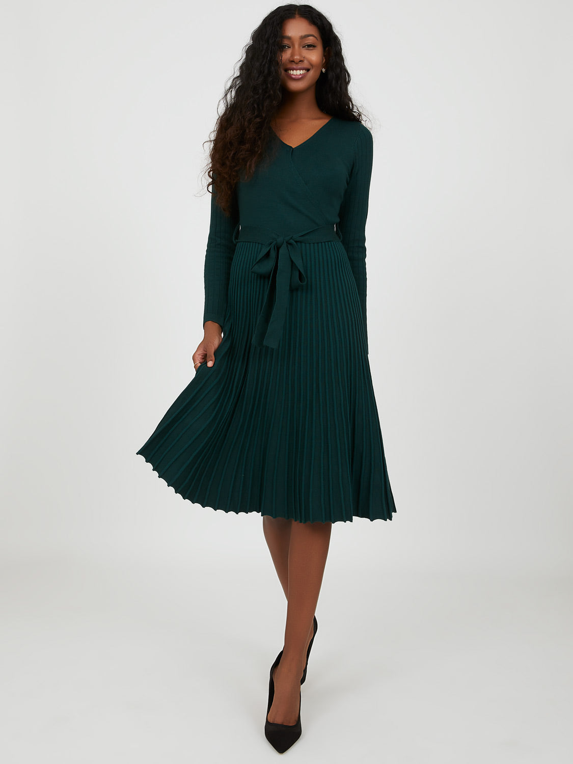 Pleated Sweater Knit Dress