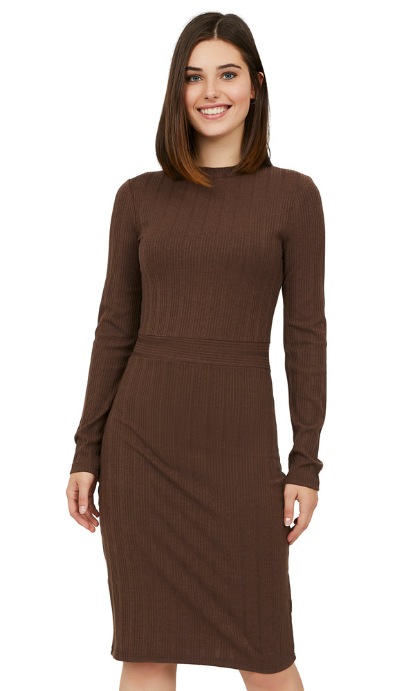 Variegated Rib Knit Striped Sheath Dress