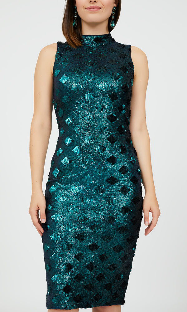 Tonal Diamond & Sequin Print Sheath Dress
