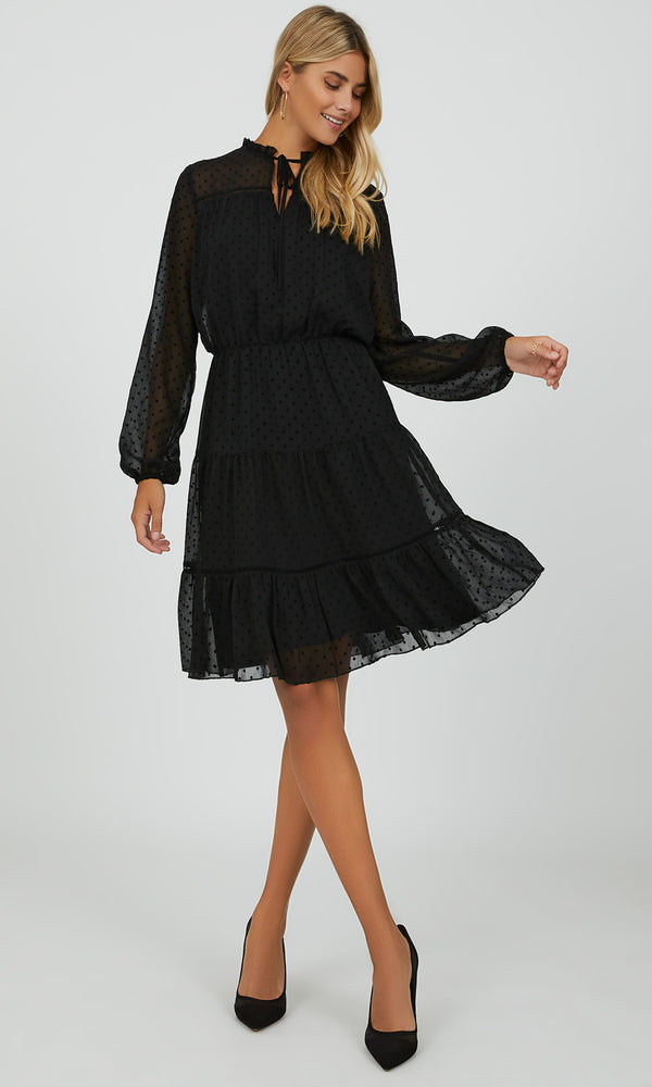 Ruffled Neck Mini Dress
