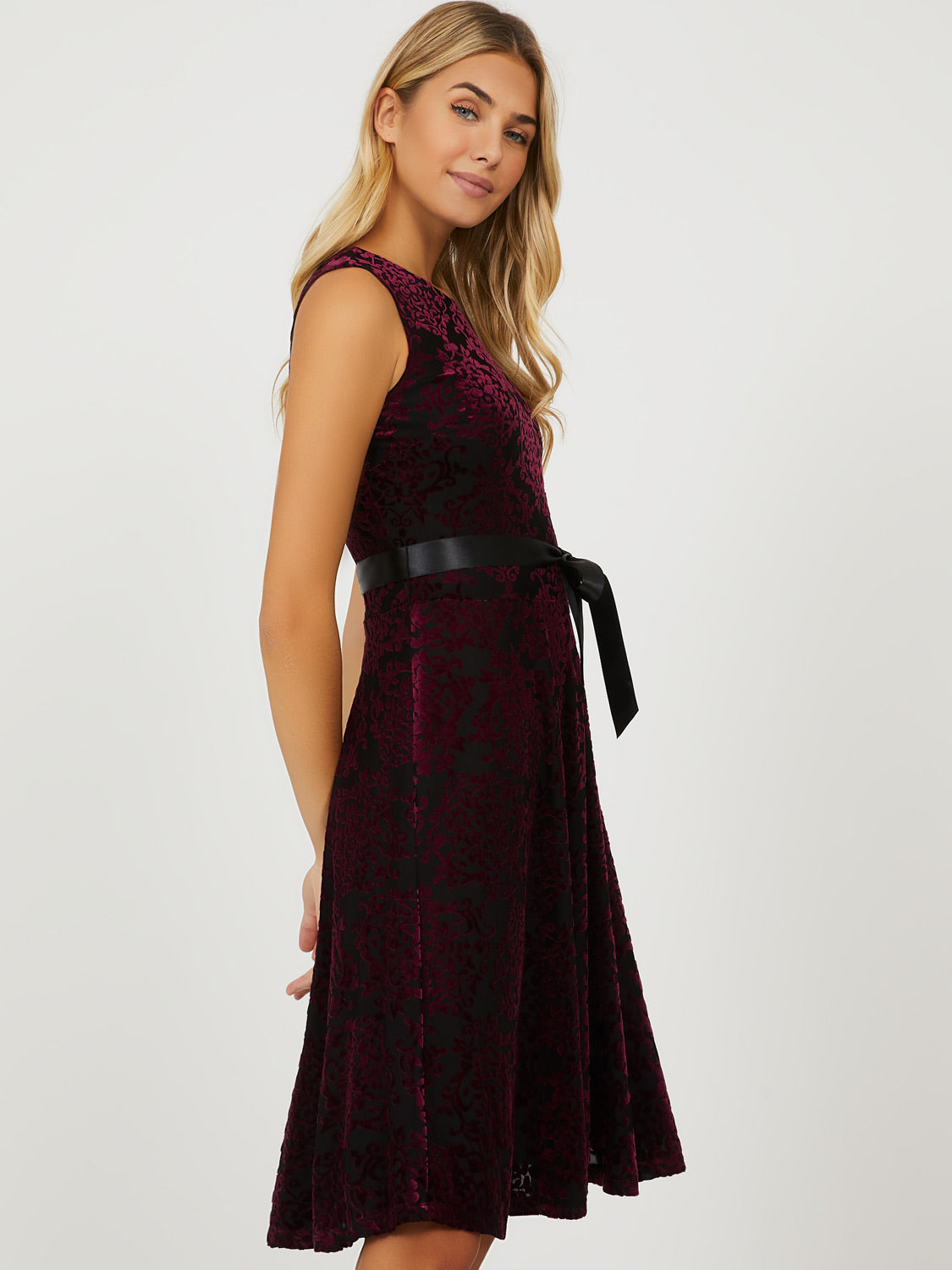 Sleeveless Fit & Flare Velvet Mini Dress