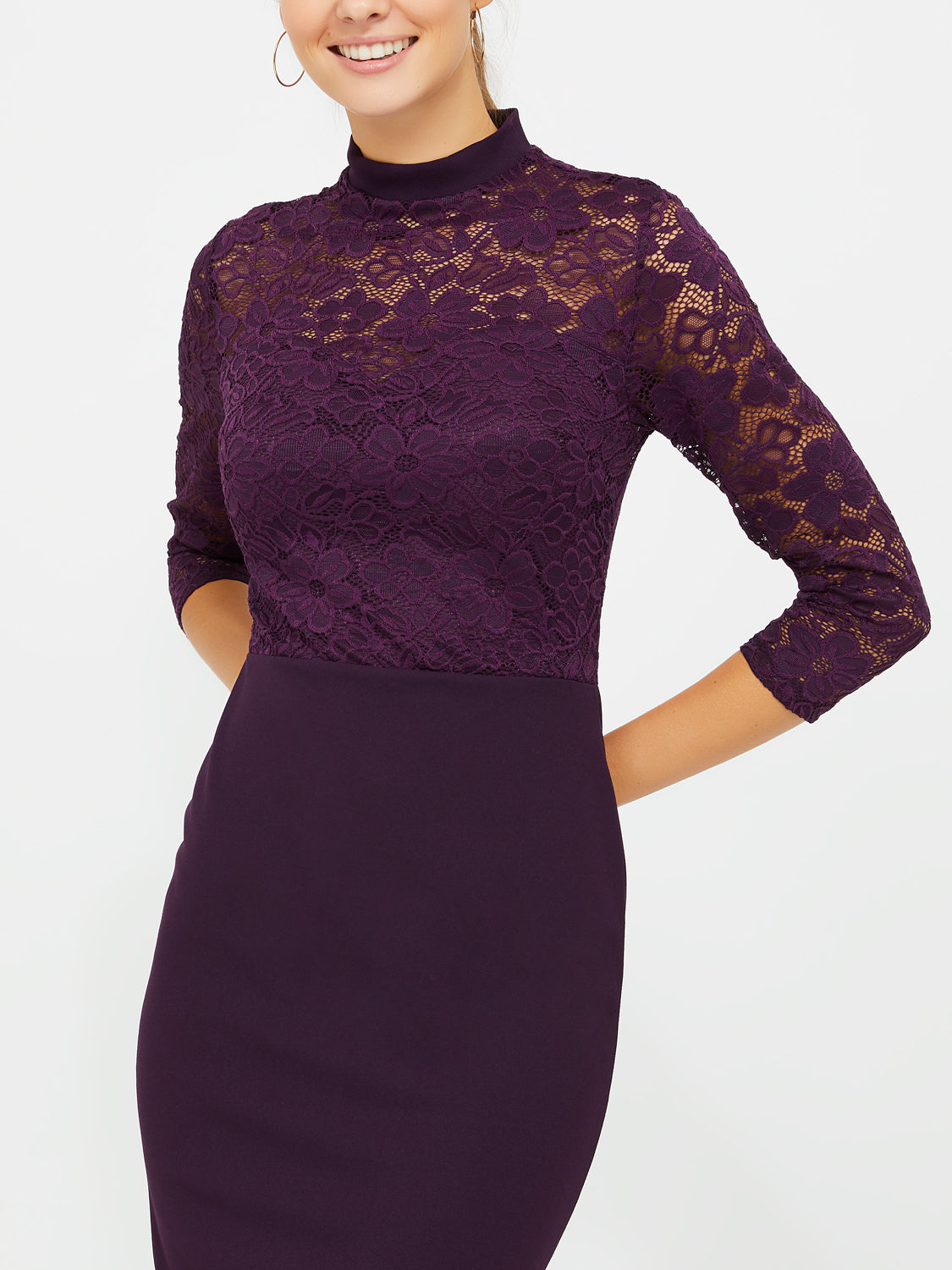 2-Fer Lace Dress With Mock Neck
