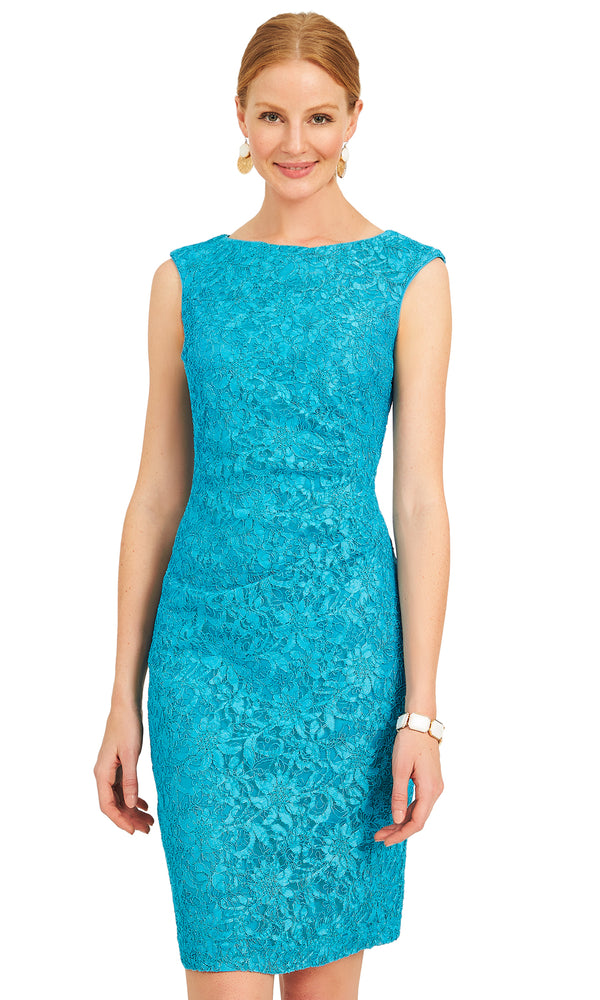 91613c463047 Lace Sheath Dress With Boat Neckline Lace Sheath Dress With Boat Neckline