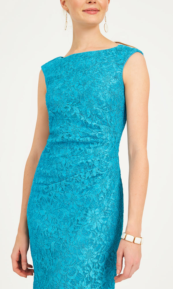 Lace Sheath Dress With Boat Neckline