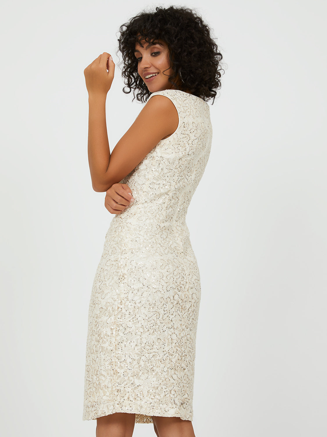 Sequin Corded Lace Sheath Dress