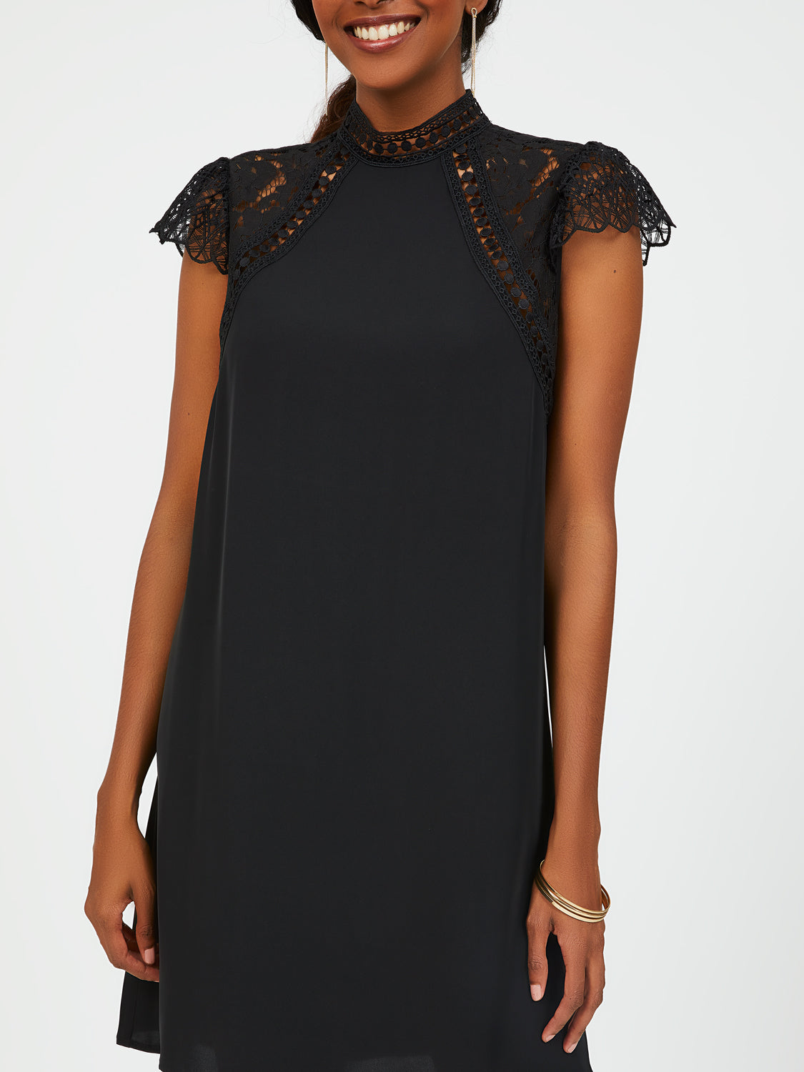Lace Short Sleeve A-Line Dress