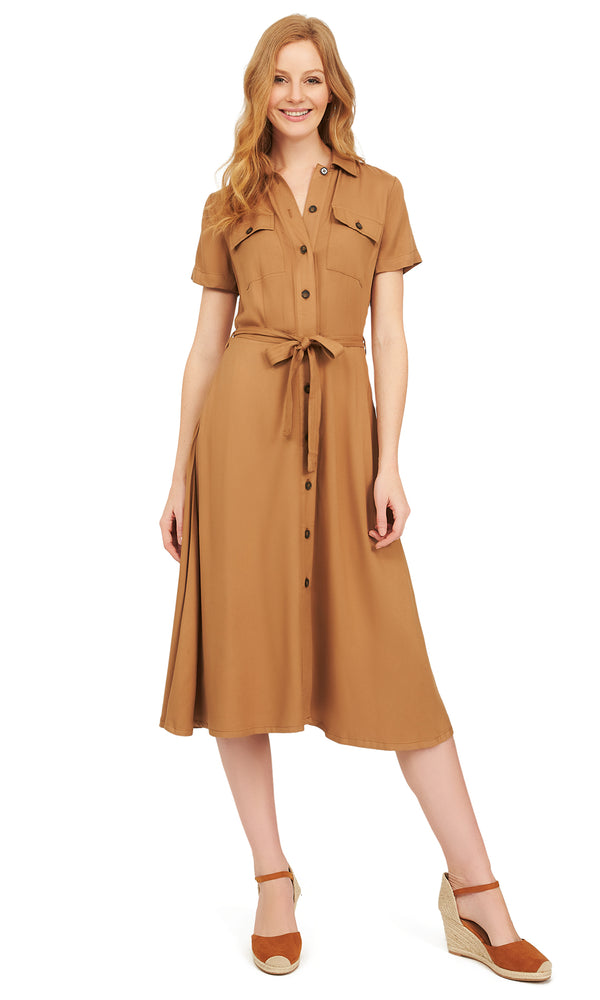 Button-Down Midi Shirt Dress