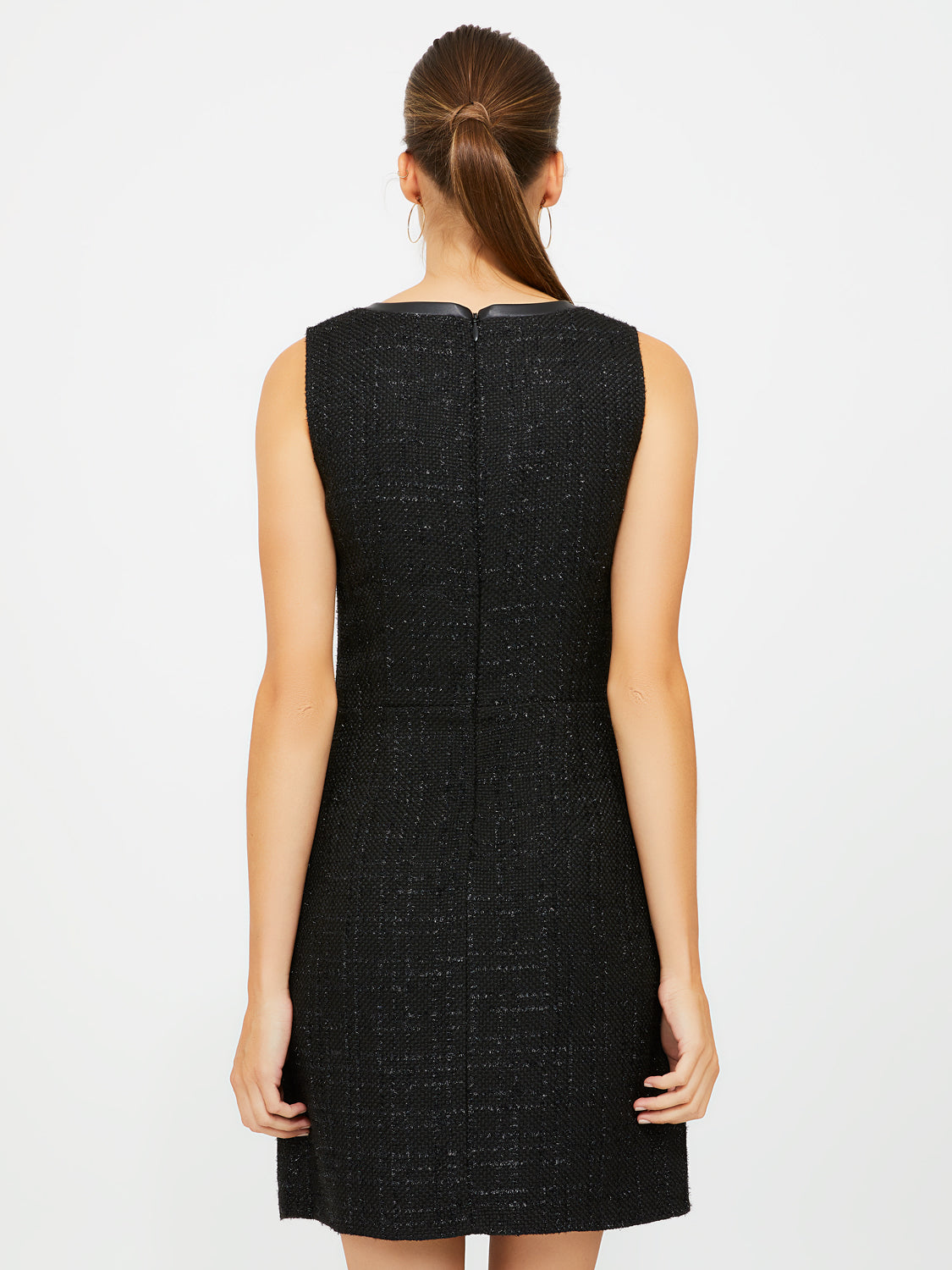 Tonal Boucle Metallic Fiber A-Line Dress
