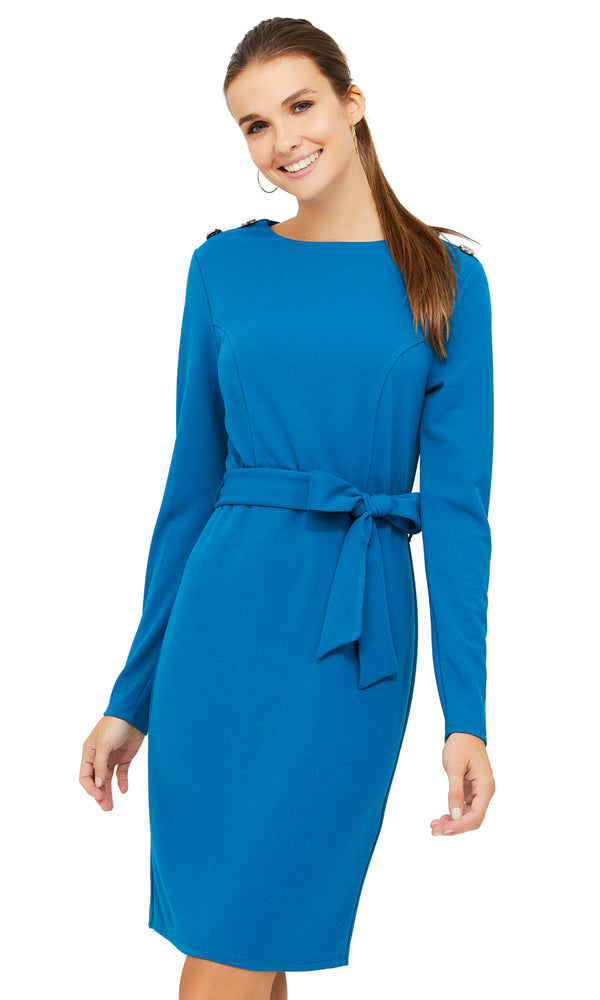 Long Sleeve Tie Sash Bow Dress