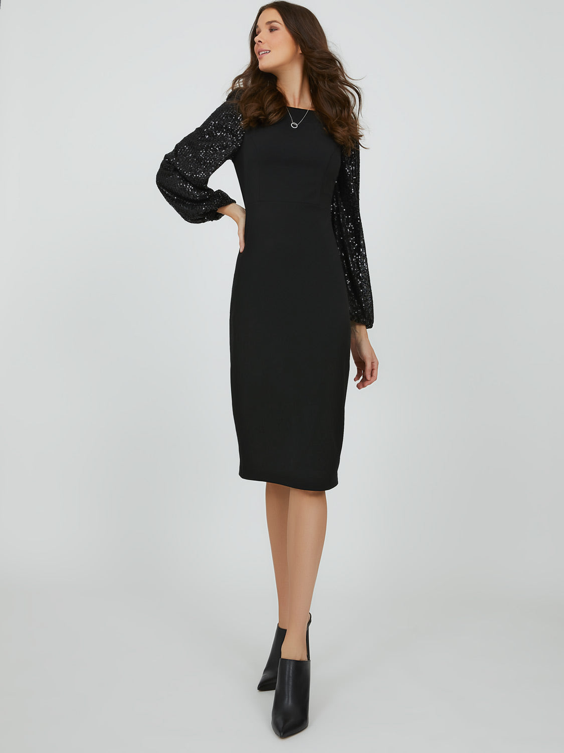 Puff Sequin Sleeve Midi Sheath Dress