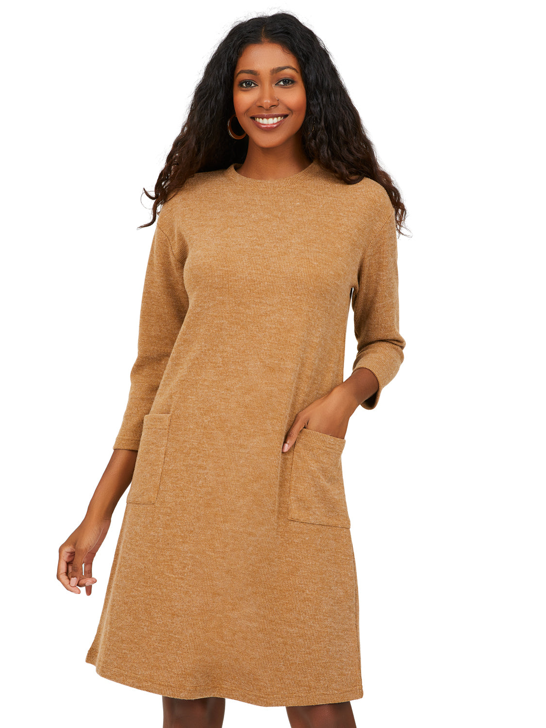 ¾ Sleeve Rib Knit A-Line Dress