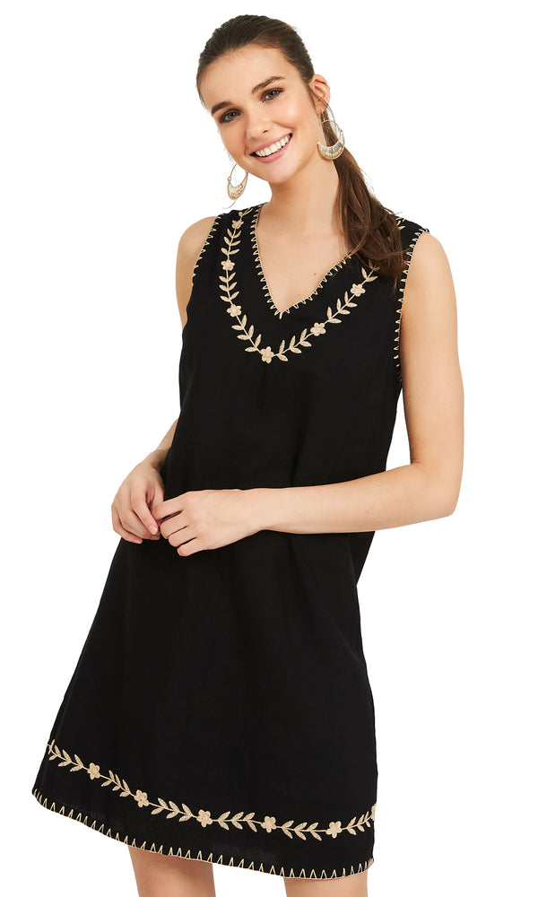 Sleeveless Embroidered Sheath Dress