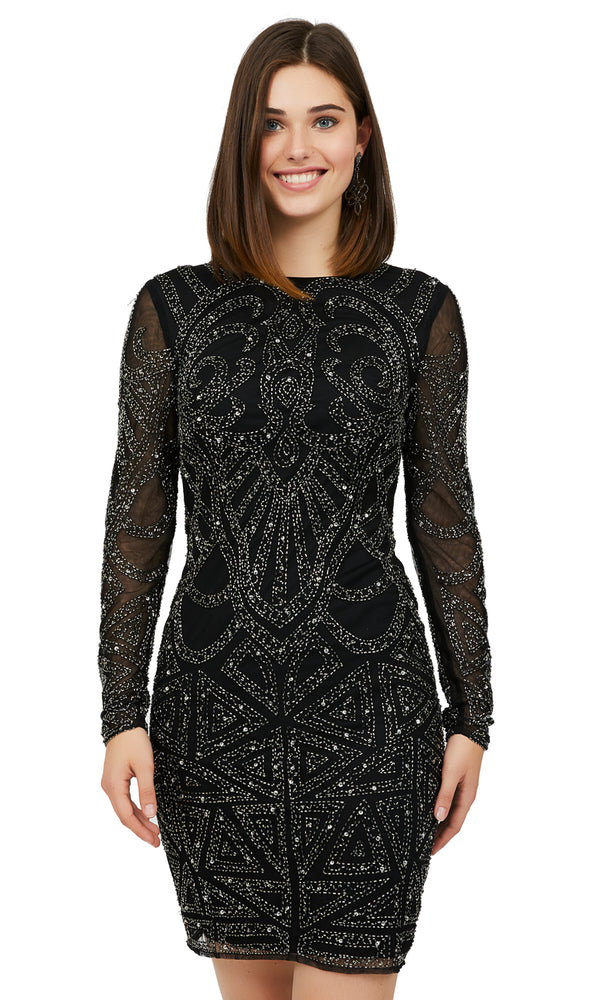 Long Sleeve Beaded Sheath Dress