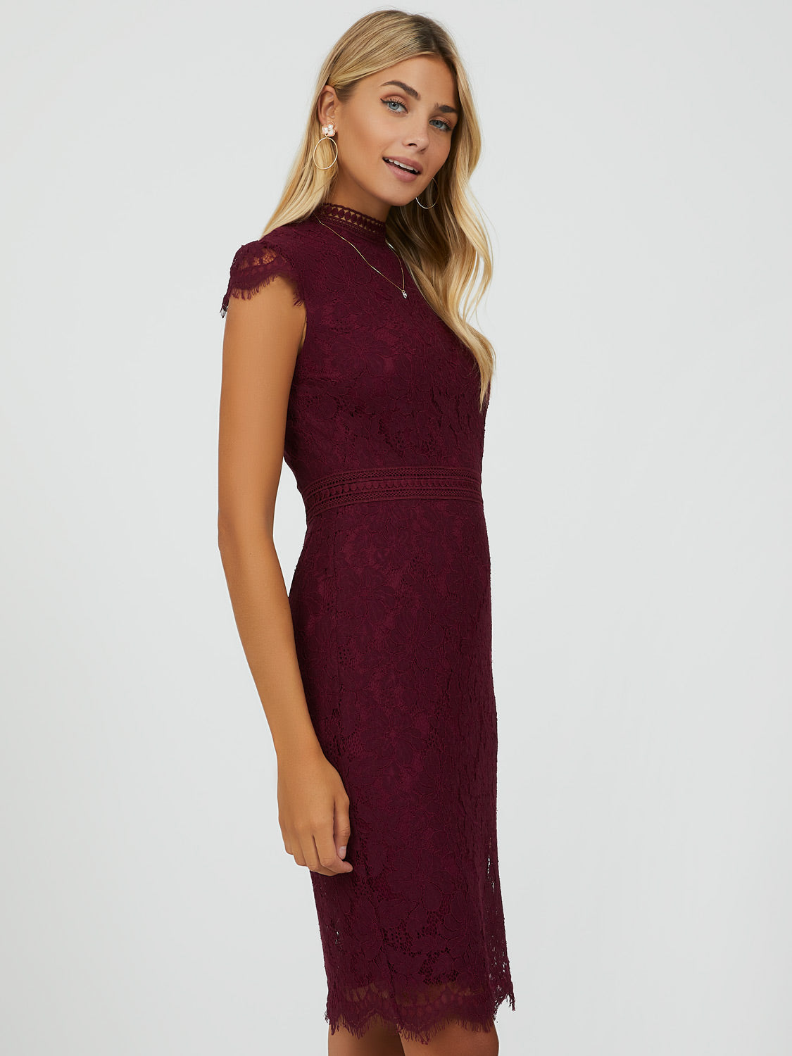Cap Sleeve Mock Neck Lace Dress