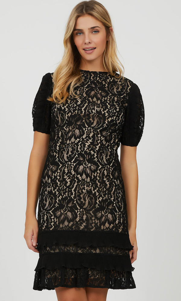 Elbow Puff Sleeve Lace Mini Dress