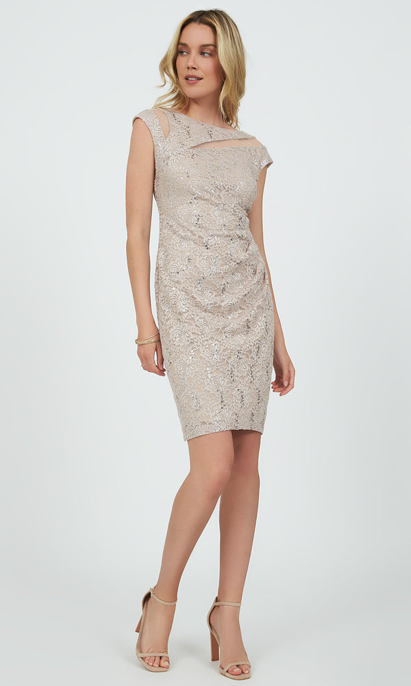 Sequin & Lace Sheath Mini Dress