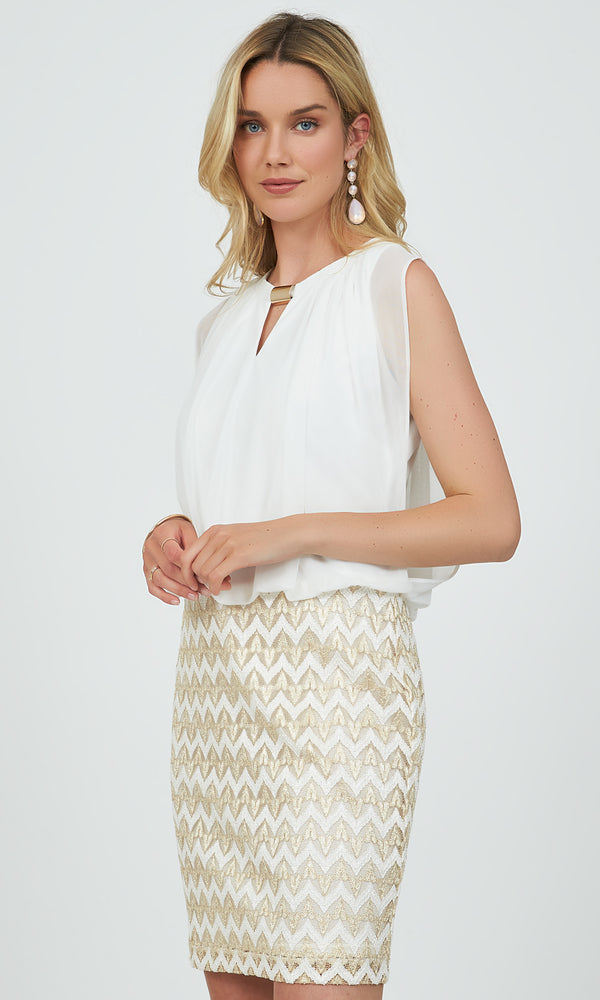 Sleeveless Chevron 2fer Mini Dress