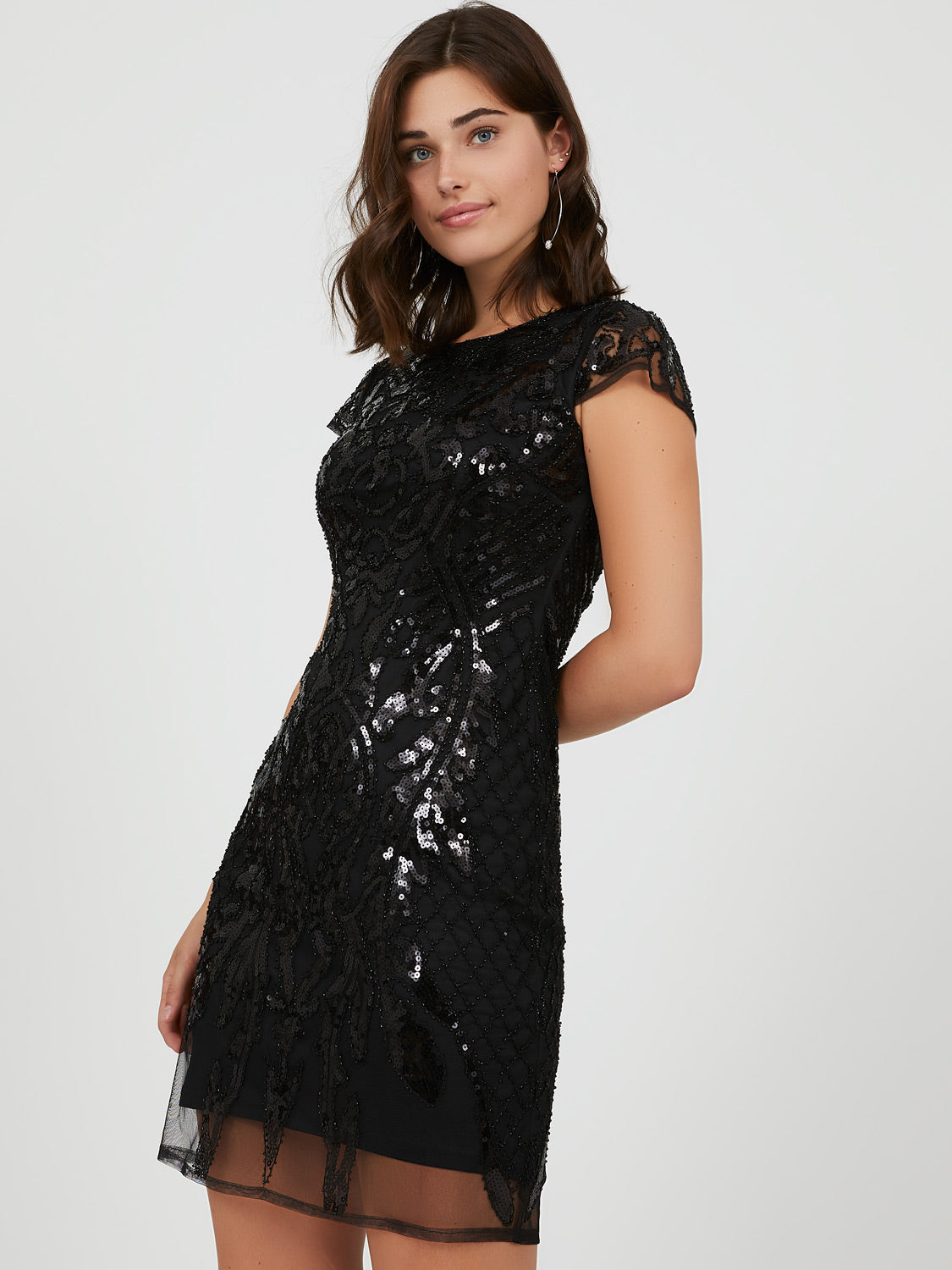 Embroidered Sequin Mini Dress