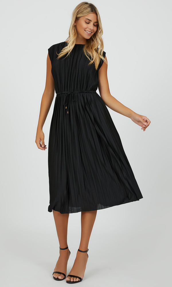 Sleek Pleated Midi Dress