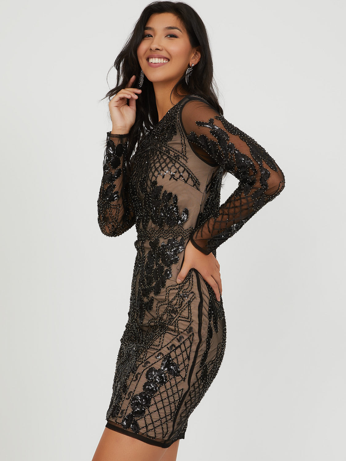 Beaded Mesh Sheath Mini Dress