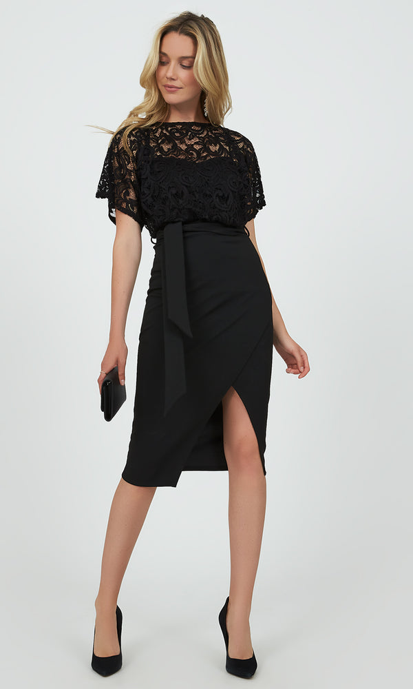 Sash Belt Lace Wrap Midi Dress