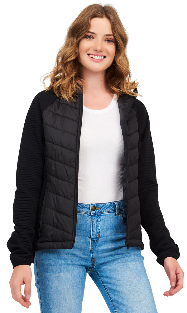 Ribbed Mix Media Jacket