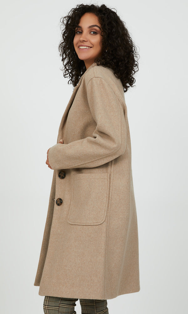 3-Button Notch Collar Coat