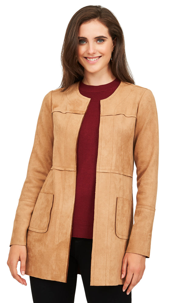 Collarless-Suede Car Coat