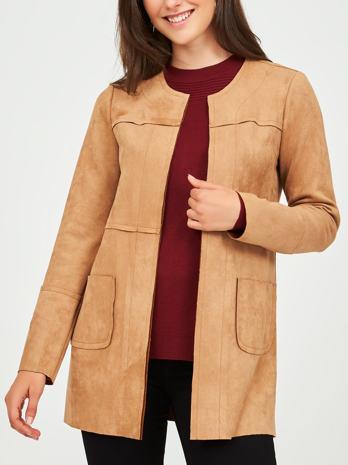 Collarless Imitation Suede Car Coat